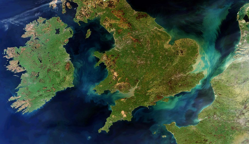 The landscapes of Ireland, Great Britain and northern France are pictured in this rare cloud-free view, acquired by ESA's Envisat on 28 March 2012. Image: ESA, CC BY-SA 3.0 IGO