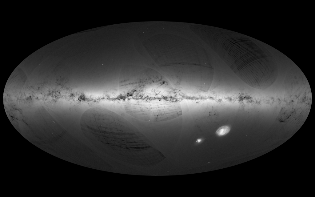 An all-sky view of stars in our Galaxy – the Milky Way – and neighbouring galaxies, based on data of the first year of observations from ESA's Gaia satellite, from July 2014 to September 2015. Credit: ESA/Gaia/DPAC, CC BY-SA 3.0 IGO